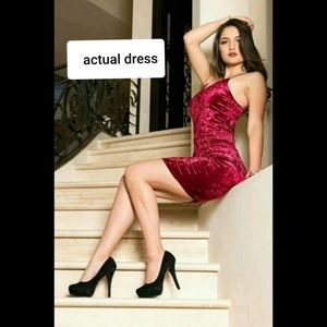 Red Velvet Cocktail Party Dress Active USA sz S